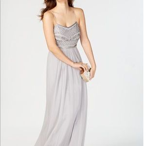 Adrianna Papell Silver Gray beaded chiffon Gown 6